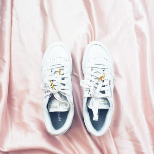 Lacets plats blancs embout or - Pinroll lacets baskets et sneakers - Reebok classic blanche