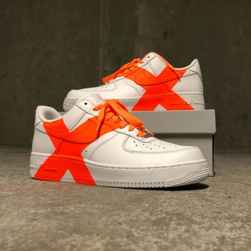 Lacets orange fluo - custom Nike Air Force - lacets sneakers