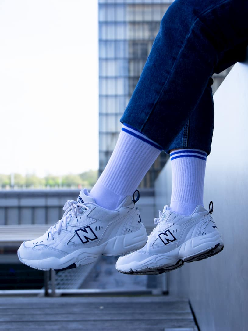 Chaussettes blanches bandes bleues - sandra New Balance Dad Shoes