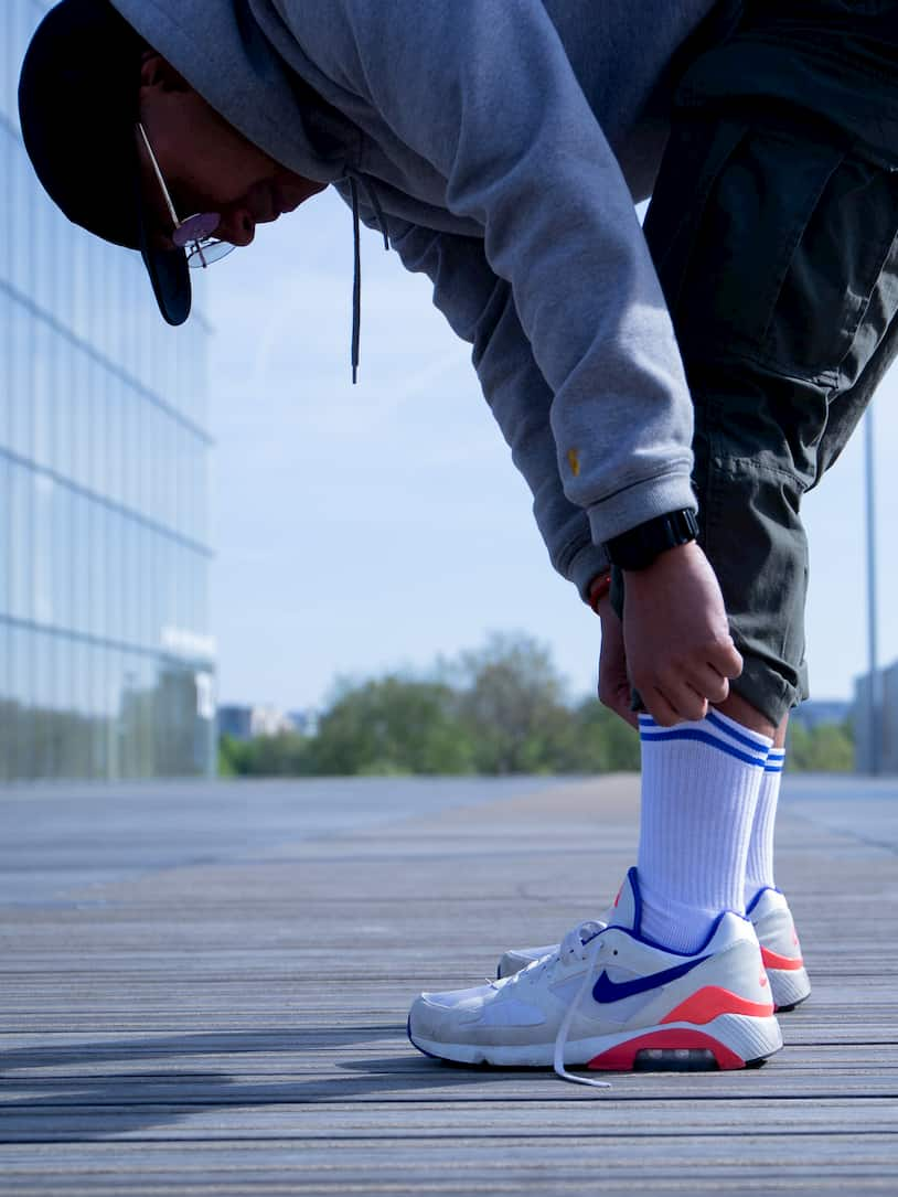 Chaussettes blanches bandes bleues - Yves Nike Air Max Ultra Marine