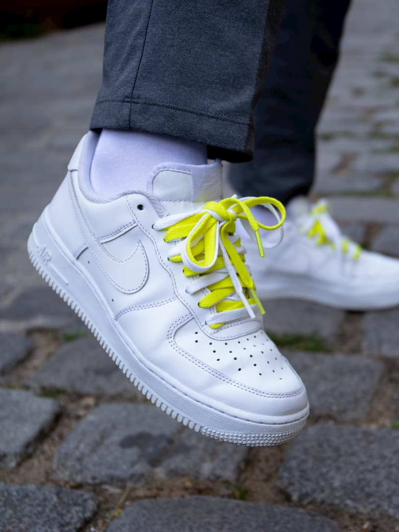 Lacets plats jaune volt _ Nike Air Force One Double lace